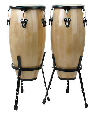"Xdrum 10"" 11"" Conga Set Latin Holz Trommeln Percussion Stativ Set Natur"