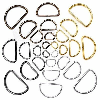 Metal D Rings Buckles For Webbing Multi Colours Hand Bag Leather Craft 10-50mm