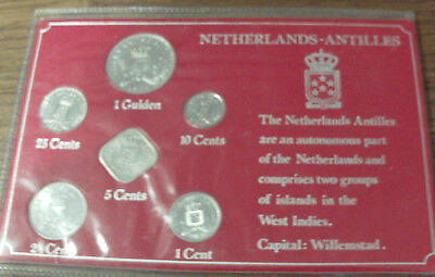 Rare! 1980 Netherlands Antilles Unc Coin Set Collection In Special Packaging!