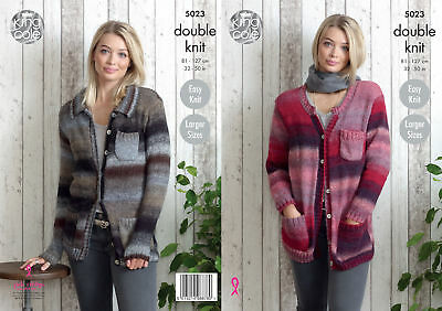 Easy Knit Ladies Cardigans Jackets Womens Double Knitting Pattern King Cole 5023
