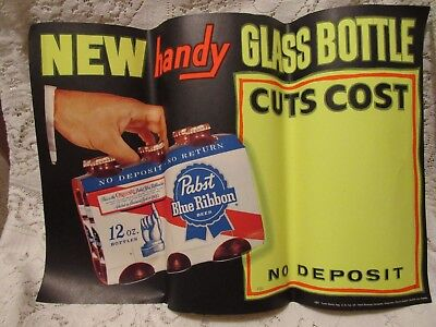 New Old Stock! Pabst Blue Ribbon Beer Paper Poster