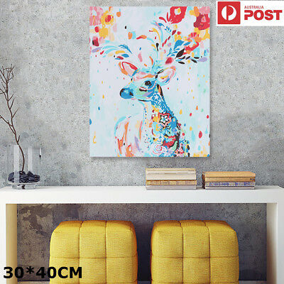 Colorful Deer Elk DIY Modern Paint By Number Kit Acrylic Oil Painting On Canvas