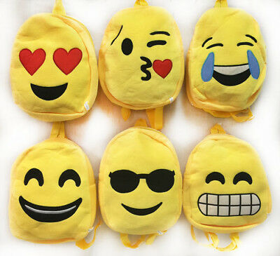 Kid's Plush Emoji Backpack Bags Cute Assorted Styles Lot Case Of 24 Wholesale