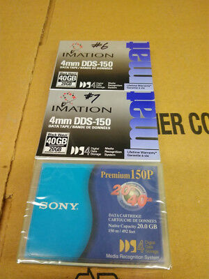 LOT OF 3 Imation / Sony 4mm DDS-150 40GB/20GB Data Tape