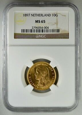 Netherland  10 Gulden 1897  NGC  MS65  Gold