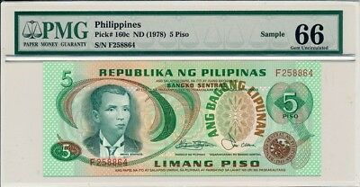 Republika  Ng  Philippines Philippines  5  Piso nd(1978)  PMG  66