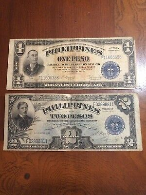 Philippines One Peso and 2 Peso Victory Notes Series No.66