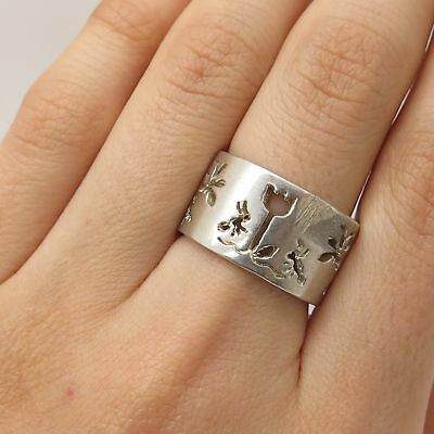 Signed 925 Sterling Silver Openwork Nature Flora & Fauna Ring Size 7.5
