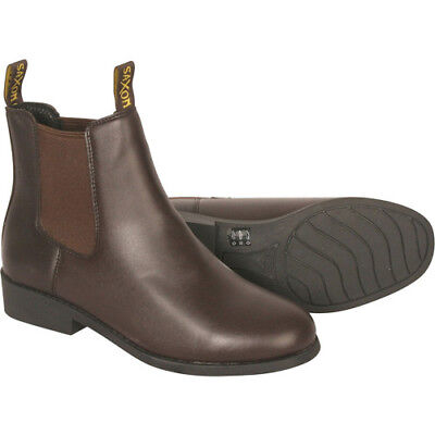 Saxon Equileather Pull-on Childs Kids Boots Jodhpur - Brown All Sizes