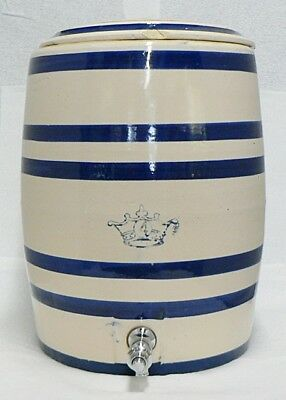 Vintage Blue Stripe 4 Gallon Ransbottom Pottery Water Cooler With Lid