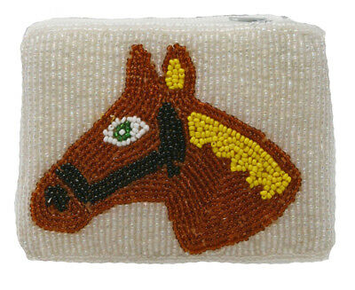 Beaded Ladies Coin Purse Cross Body Strap Brown Horse Yellow Halter
