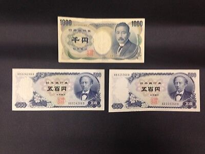 JAPAN (3 Notes)  500 and 1000 Yen