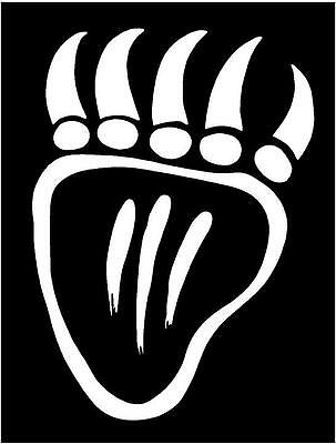 Bear Claw pair paw black grizzley hunt archery fun sticker WHITE Vinyl Decal