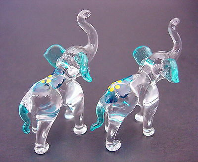 2 Tiny Glass ELEPHANTS, Turquoise & Blue Ears, Tail & Flower, Glass Animals Gift