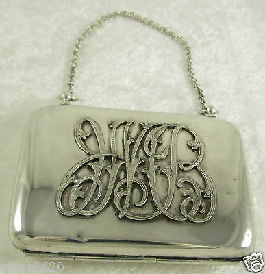 Sterling Silver Cigarette Card Case Purse Engraved Mono JMB 2x3 inch 95g Antique