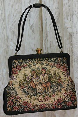 VICTORIAN Tapestry Handbag MINI PETIT Floral Man &Lady Scene MAKERS MARKs 'LW'