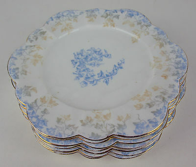"Set x 7 Antique Plates 7 1/8"" Foley Wileman 5045 vintage blue vines England"