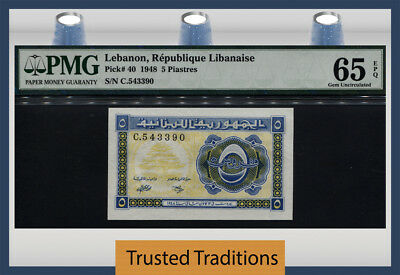 Tt Pk 40 1948 Lebanon 5 Piastres Pmg 65 Epq Gem Uncirculated Pop 11 Only 1 Finer