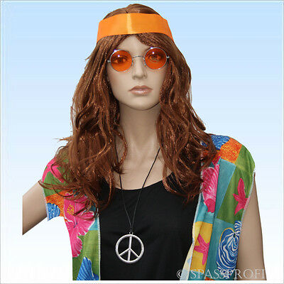 70er Jahre Set  Hippie Perücke, Stirnband, Brille, Medaillon 70er Flower Power