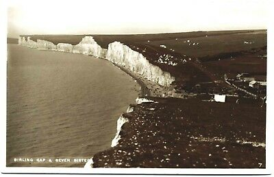 Early Real Photo Postcard . Burling Gap & Seven Sisters . Sussex