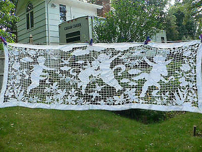 Antique Cut Work Lace Runner / Pelmet Cherubs Puttis  Birds, Flowers 56 X 18 ""