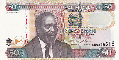 50 Shilingi Aunc Crispy Banknote From Kenya 2005!pick-36!with Cutting Error