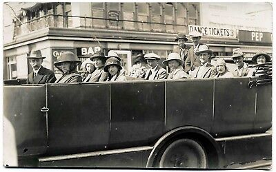 Early Real Photo Postcard . A Coach Trip . Portsmouth ? . Hampshire