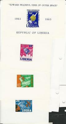 Liberia, Postage Stamp, #415-417, C162 Mint NH Die Sheets Imperf, Space