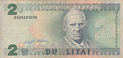 2 Litai Fine Banknote From Lithuania 1993!pick-54