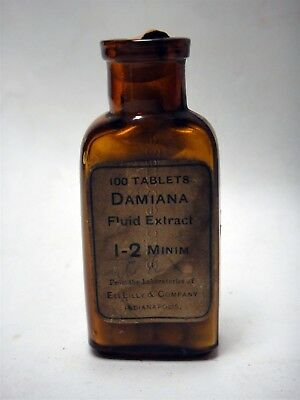 1906 antique DAMIANA quack medicine BOTTLE w CONTENTS eli lilly indianapolis in