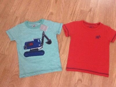 Next Baby Boys Size 9-12 Months 2 x Digger T-Shirts In Red & Green Brand New