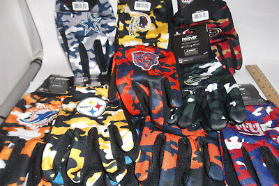 U Pick 1 NFL Forever GLOVES Team Color Camo Logo Tailgate Party Adult Sz hunting