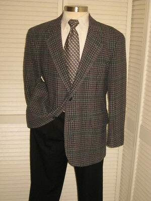Vtg Pendleton Tweed Mens Gray Check 100% Wool Sport Coat Jacket Blazer 42R  #k4