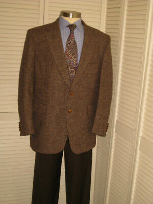 Vtg Harris Tweed Mens Brown Wool Sport Coat Jacket Blazer 46R  #a10