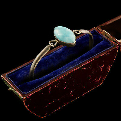 Antique Vintage Deco Mid Century English Sterling Silver Larimar Bangle Bracelet