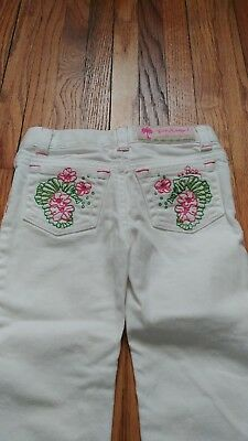 Girls Lilly Pulitzer White Jeans W/ Pink & Green Seahorse Stitching Sz 2 Toddler
