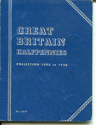 Great Britain 1/2 Penny 1902-1936 Complete Collection +Folder KEVII,KGV (37 pcs)