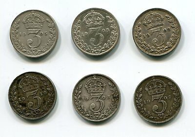 Great Britain Silver 3 Pence 1902-1910 Collection KEVII (6 pcs)