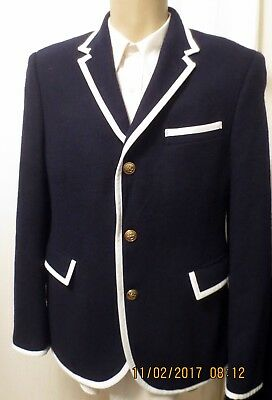 THOM BROWNE Target Men's Sports Jacket Blazer Coat Wool M Blue NEIMAN MARCUS