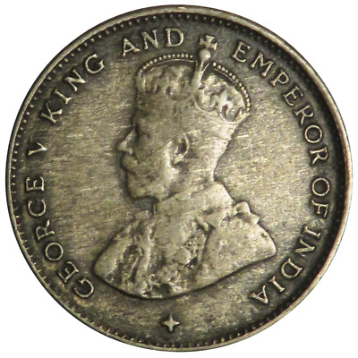 1919 10 Cent George V Straits Settlements Silver