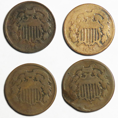 Lot of 4 -  1864 & No Date 2 Cent Shield Two Cents