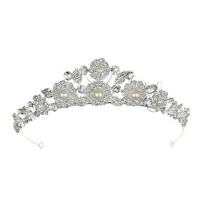 Floral Bridal Rhinestone Crystal Pearl Prom Wedding Crown Tiara 71070