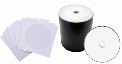50/100 x Blank DVD-R/CD-R Disk PLAIN WHITE INKJET PRINTABLE SLEEVES 50pcs/100pcs