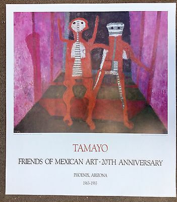Tamayo Mexican Print Poster 1983 Phoenix Art Museum Modern Expressionist Latino