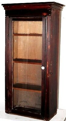 Antique 19Th Century Tall Apothecary Medicine Display Cabinet W/ Very Wavy Glass