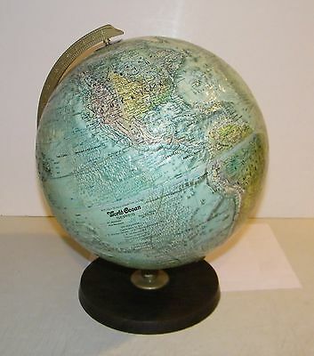 "Vintage Replogle 12"" World Ocean Globe Raised Relief By Meredith Corp USA E.C."
