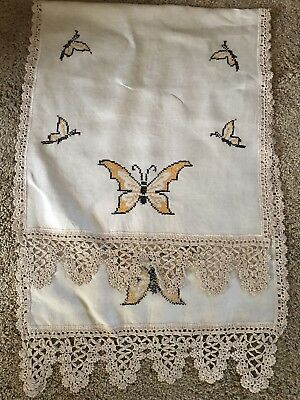 Vintage Arts/Crafts Mission Stickley Era Oatmeal Linen Embroidered Runner Scarf