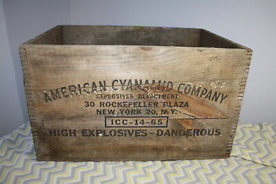 Antique American Cyanamid Company Dynamite Wood Shipping Crate High Explosives