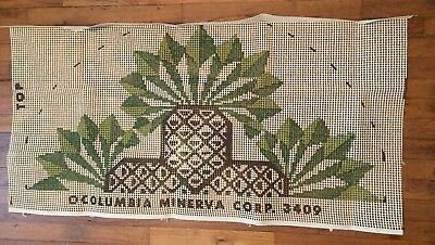 "Vintage Columbia Minerva Latch Hook Rug Canvas Only 22""x 24"" Pineapple Patchwork"