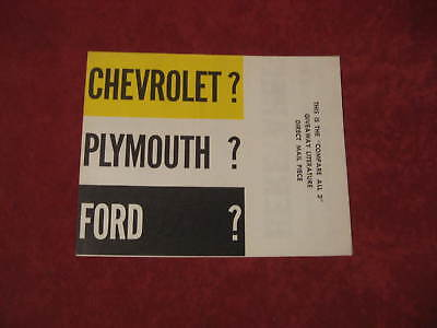 1957 Plymouth Dealer Poster Salesman Dealership Brochure Mopar Old booklet